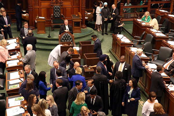 MPPs voting for the Speaker in 2018