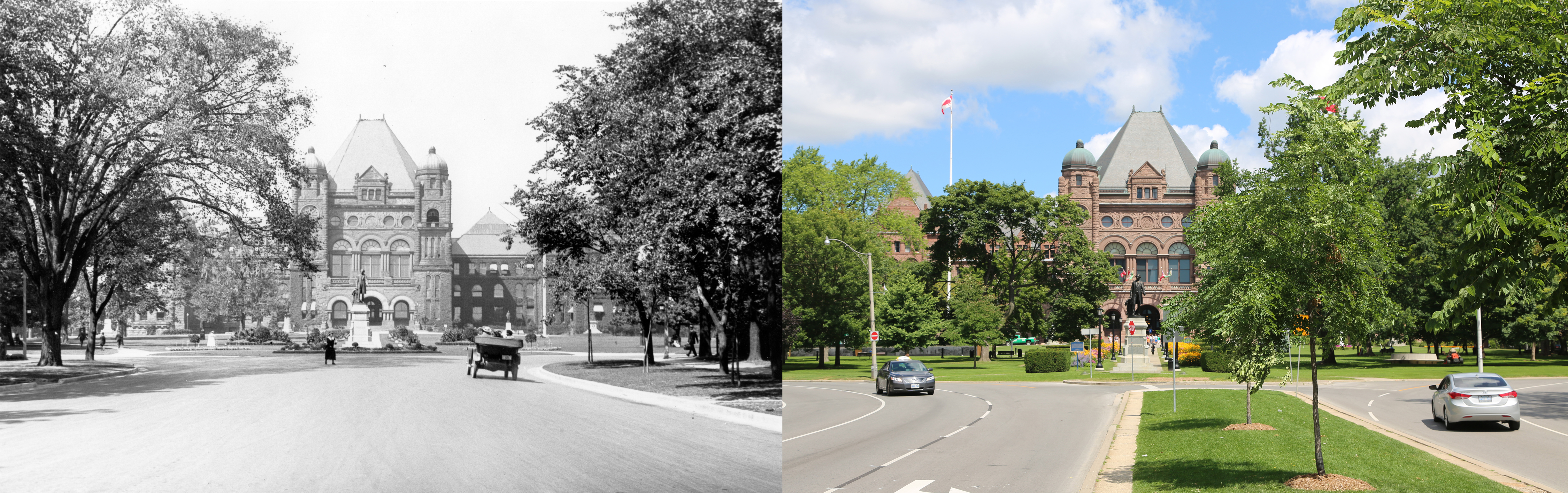 Looking north from University Avenue at the Legislative Building - the view on the left is from 1914, the view on the right is from present day