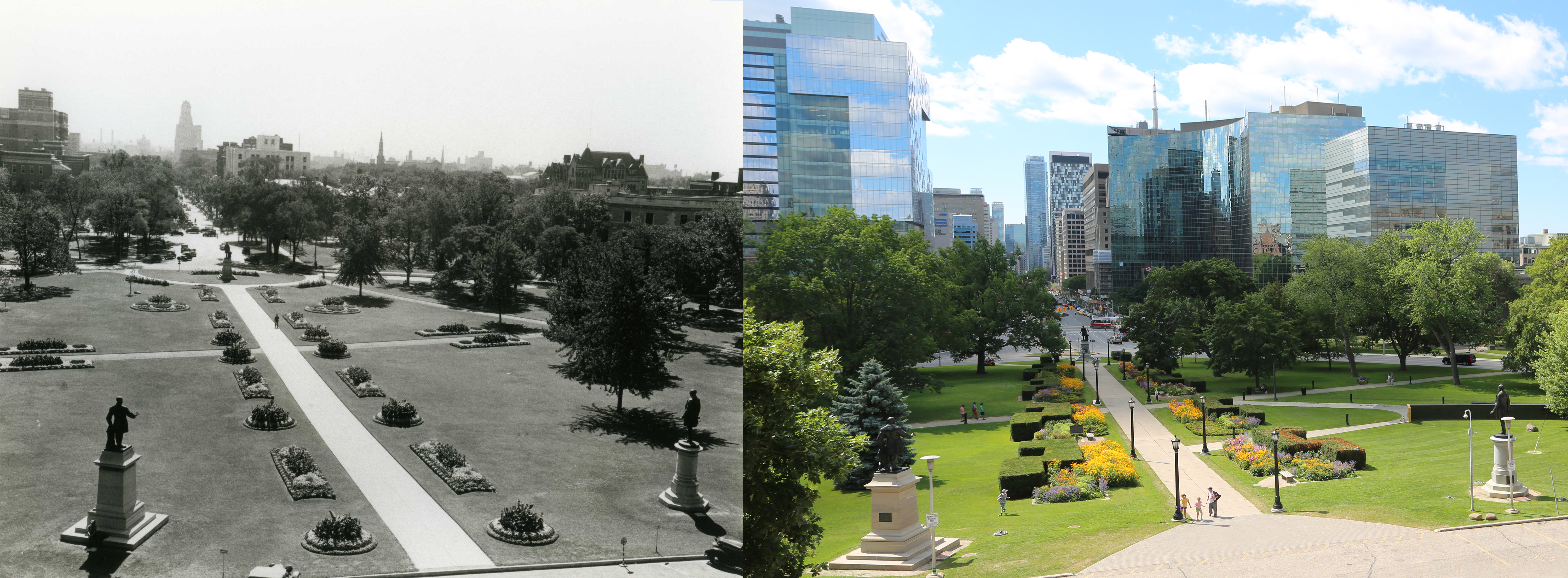 Aerial view looking south from the Legislative Building to University Avenue - the view on the left is from the 1930s, the view on the right is from present day