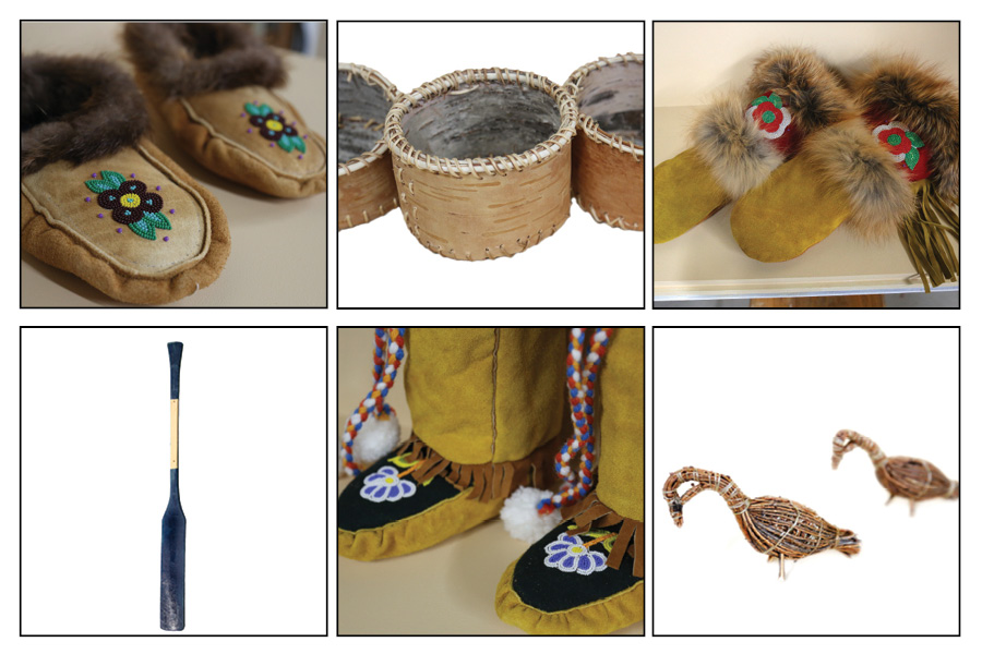 Images of objects from Marten Falls First Nation including moccasins, mittens, canoes and Tamarac birds