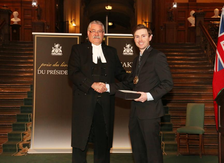 Adam Shoalts with the Honourable Dave Levac, Speaker