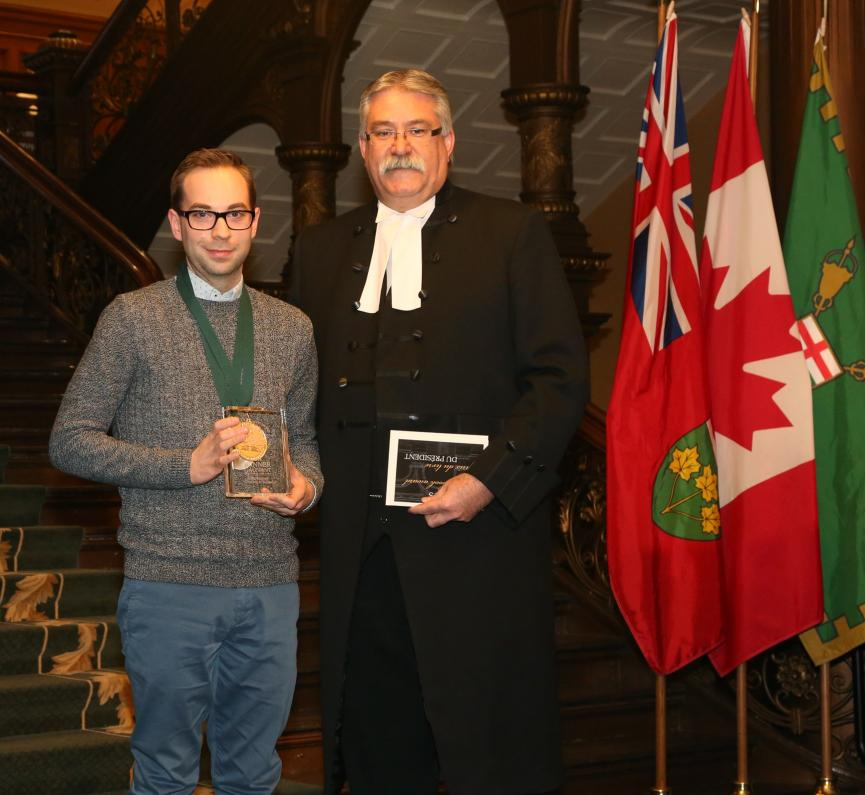Giles Benaway with the Honourable Dave Levac, Speaker
