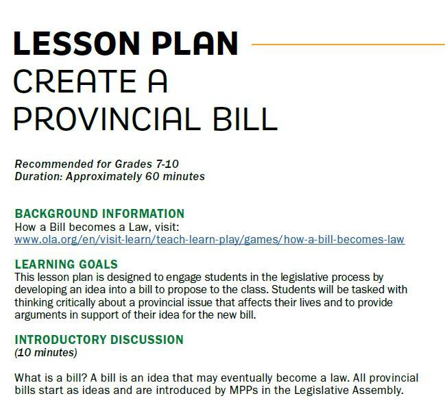 Picture of a lesson plan