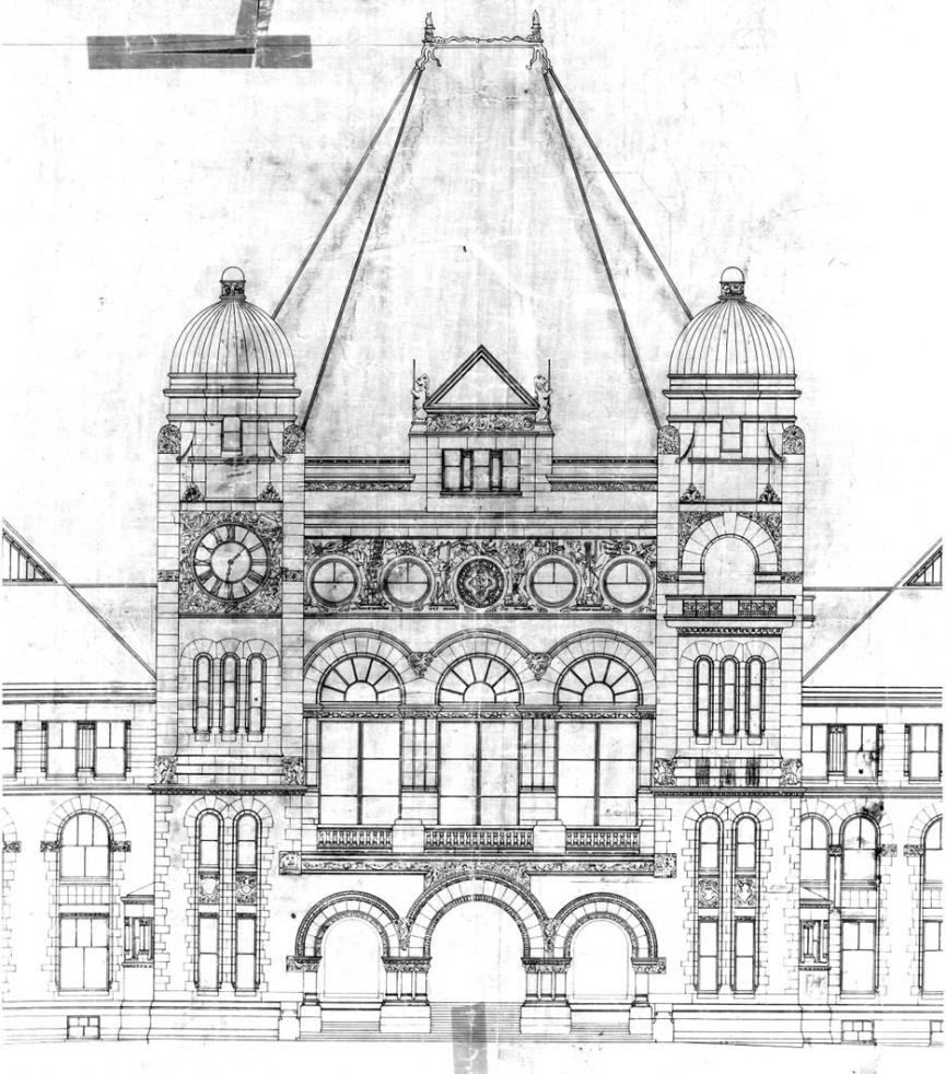 Architectural drawing of Ontario's Legislative Building