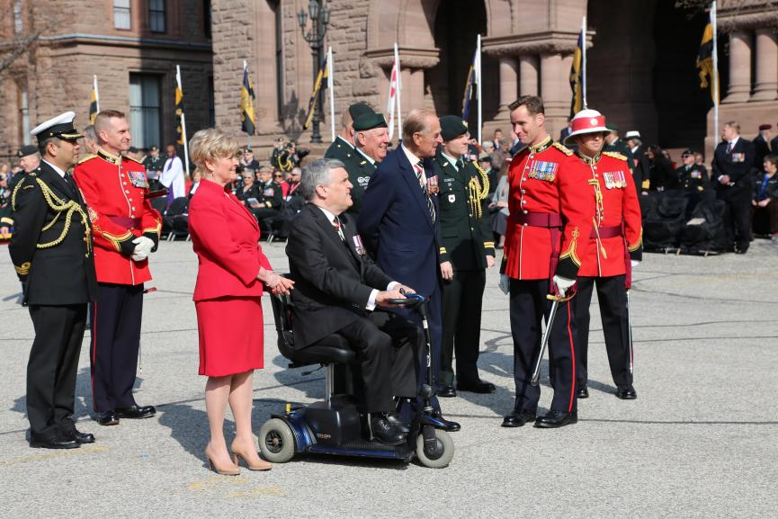 Picture of the Duke of Edinburgh with Lieutenant Governor David Onley and Mrs. Onley speaking with members of the Royal Canadian Regiment, 2013