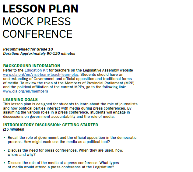Picture of a lesson plan.