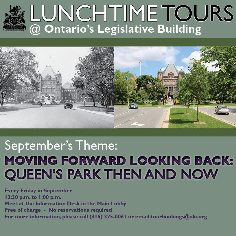 September 2019 Lunchtime Tour Graphic - Queen's Park Then and Now
