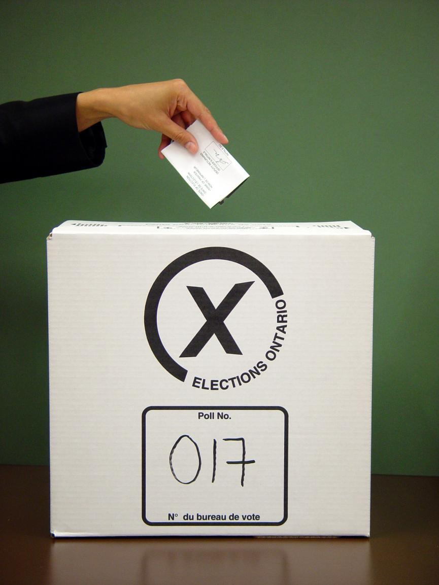 Picture of an Elections Ontario ballot box