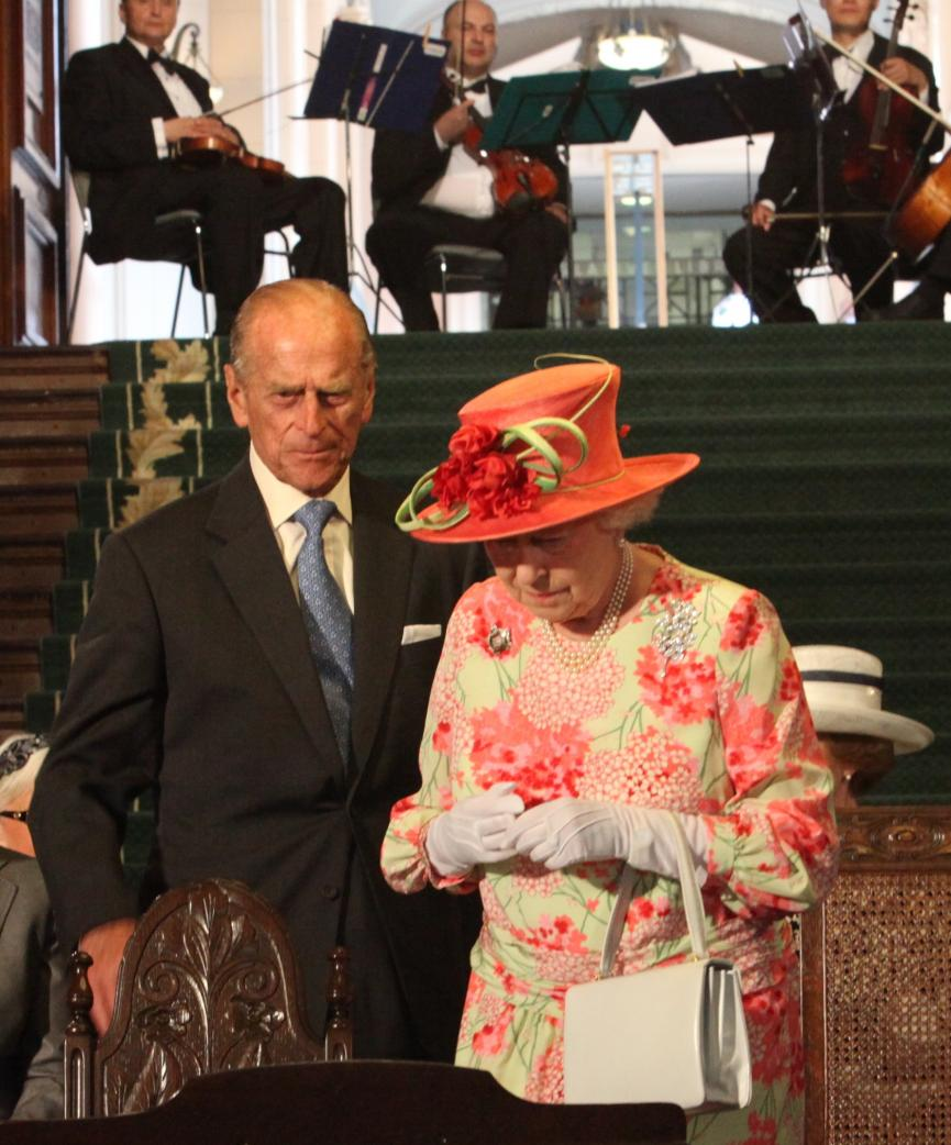 Picture of the Duke of Edinburgh and Her Majesty Queen Elizabeth II on stage during the 2010 Royal Visit to Ontario's Legislative Building