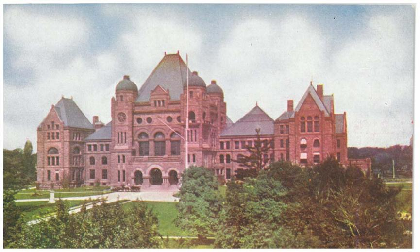 Historic postcard image of Ontario's Legislative Building