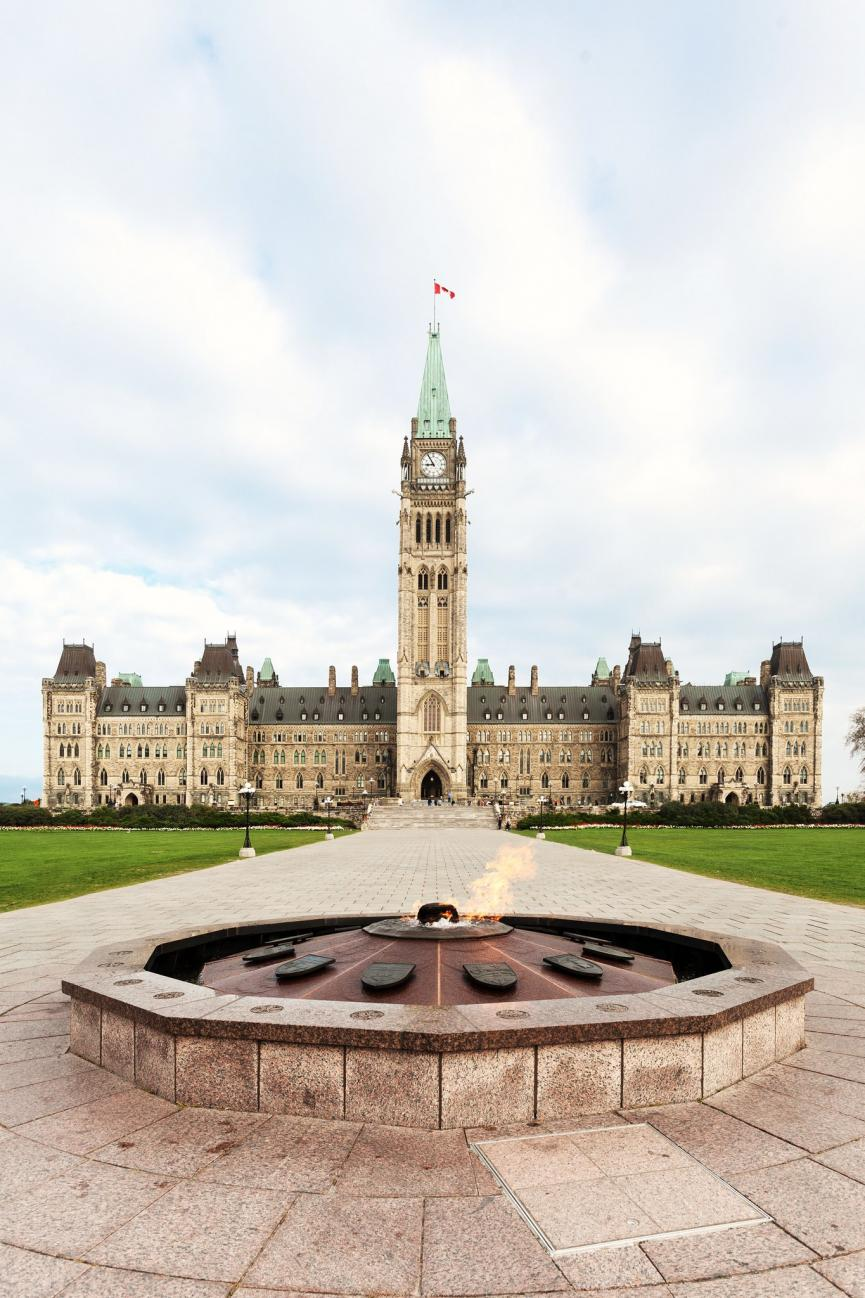 View of the Parliament Building and Centennial Flame in Ottawa, Canada