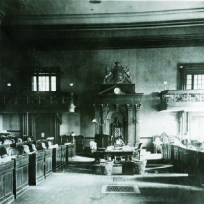 View of the Legislative Chamber, Front Street Legislative Building, late 19th century