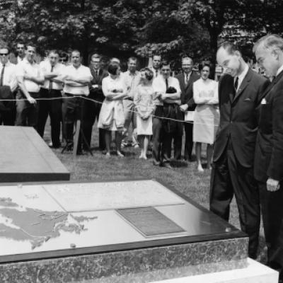 Premier Robarts unveils the Post One monument to commemorate Canada's centennial in 1967, on the east side of the Legislative grounds.