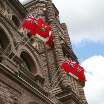 Ontario flag above the centre block of the Legislative Building, south side.
