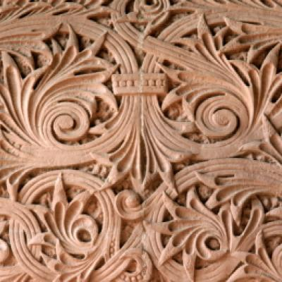 Intricate leaf motif carved into the sandstone of the south entrance of the Legislative Building.