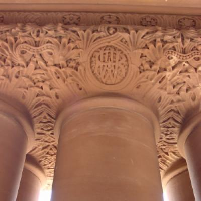 Architect Richard A. Waite's initials, carved into the top of a column by the south entrance of the Legislative Building.