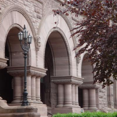 Arches by south entrance of the Legislative Building.