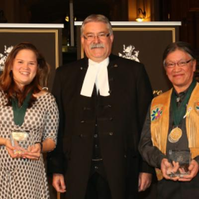 Picture of Speaker Dave Levac with 2015 Speaker's Book Award Winners Alexandra Shimo & Edward Metatawabin