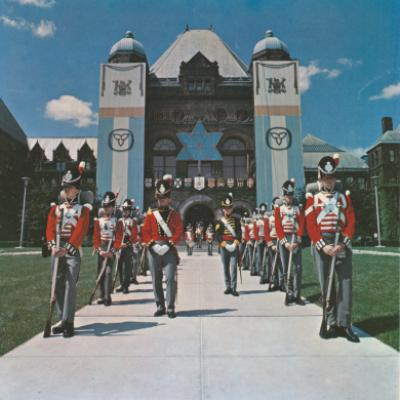 Picture of the Fort York Honour Guard in front of the Legislative Building, 1967