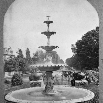 Fountain at the entrance of Queen's Park,circa 1880s.