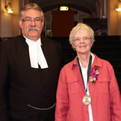 Picture of Speaker Dave Levac with 2012 Speaker's Book Award Winner Heather Robertson