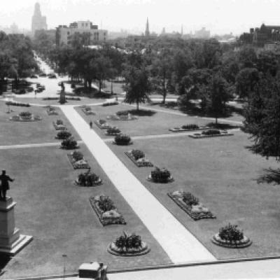 Looking south on the grounds of the Legislative Building, 1930s.