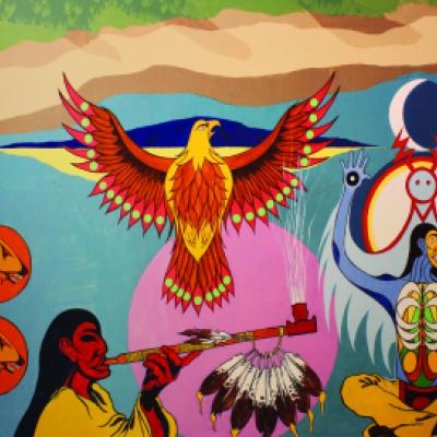 Image showing the 2nd of 3 panels depicting the history of the Mississaugas of the Credit First Nation