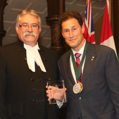 Picture of Speaker Dave Levac with 2014 Speaker's Book Award Winner Steve Paikin