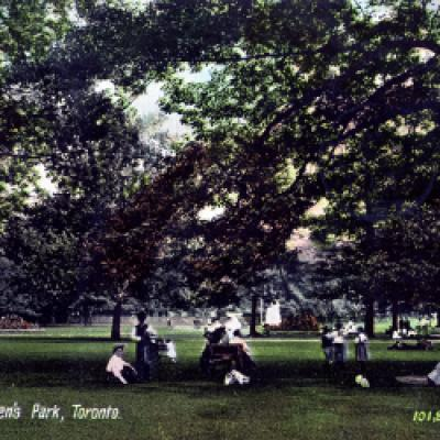 Members of the public enjoy the grounds of Queen's Park.