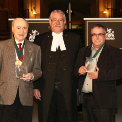 Photo of Red Kelly and David Dupuis, authors of the Red Kelly Story, with Speaker Dave Levac