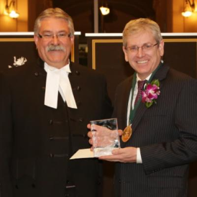 Picture of Speaker Levac with 2013 Speaker's Book Award Winner Charlie Angus
