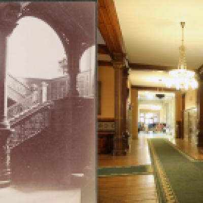 The grand staircase in the Legislative Building - view on the left from 1890, on right from present day