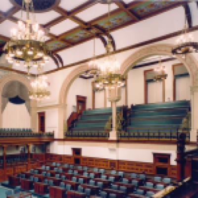 The Legislative Chamber - the view on the left is from 1893, the view on the right is from present day