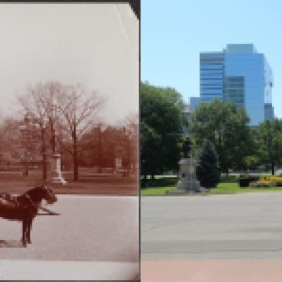Looking south from the main entrance of the Legislative Building - the view on the left is from 1890 and has a horse-drawn carriage in it, the view on the right is from present day and has a taxi cab in it