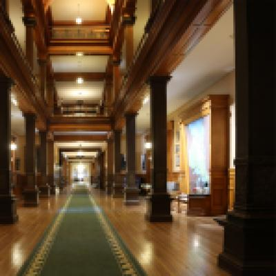The 1st floor of the east wing of the Legislative Building - the view on the left is from the late 1960s, the view on the right is from present day
