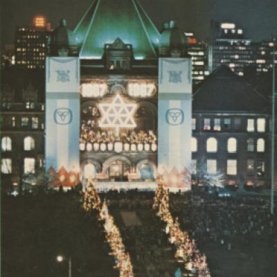Picture of the tree lighting ceremony on the grounds of the Legislature, December, 1967.