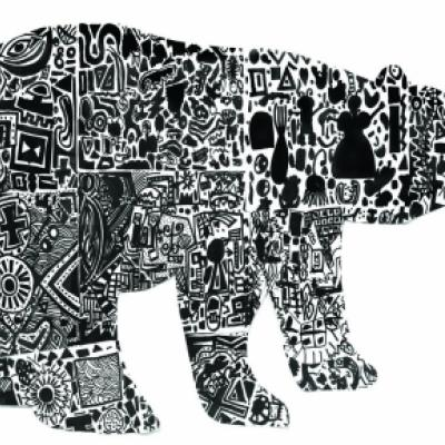 Image of a print entitled Nanuq, or the polar bear, created by students at the Ottawa Inuit Children's Centre