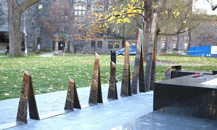 The bronze component of the Afghanistan Memorial in a folded and ribbon-like form