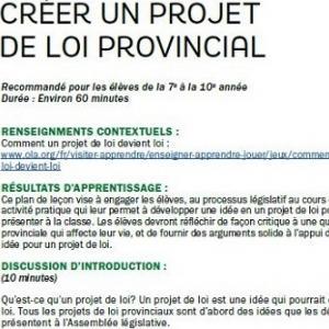 Créer un projet de loi provincial image