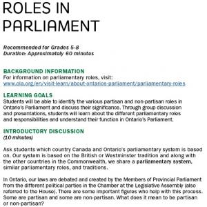 Roles in Parliament image