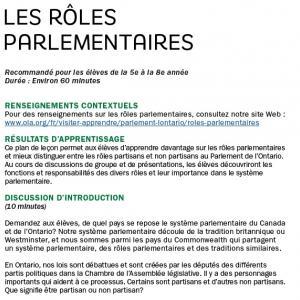 Les rôles parlementaires image